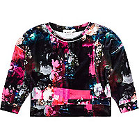 Mini girls black floral velour sweatshirt