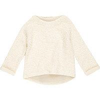 Mini girls cream long sleeve jumper