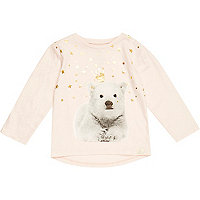 Mini girls pink star polar bear print t-shirt