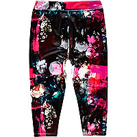Mini girls black floral velour leggings