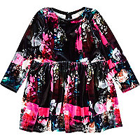 Mini girls black floral velour dress