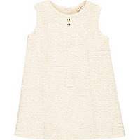 Mini girls cream fit and flare dress