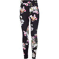 Girls black floral print leggings