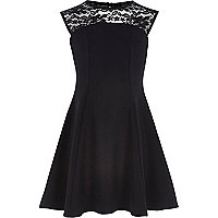 Girls black fit and flare lace dress
