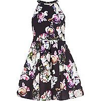 Girls black floral print dress