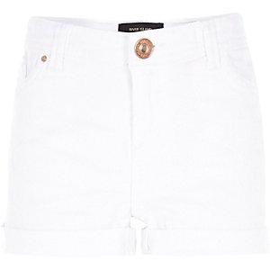 Girls white denim hipster shorts