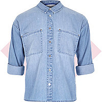 Girls blue boxy denim shirt