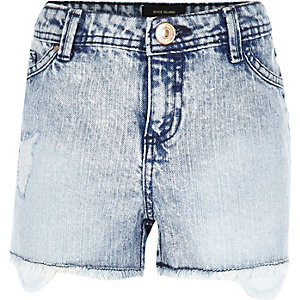 Girls blue denim acid wash ripped shorts