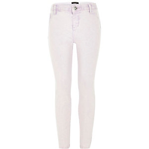 Girls purple acid wash denim jeggings
