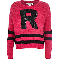 Girls pink R studded fluffy jumper