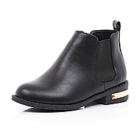 Girls black gold detail chelsea boot