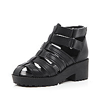 Girls black velcro clumpy sandal