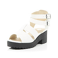 Girls white clumpy double buckle sandal