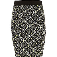 Girls black glitter star print tube skirt