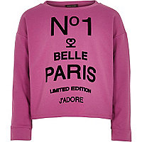 Girls purple flocked No 1 Belle sweatshirt