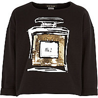 Girls black sequin perfume bottle sweatshirt