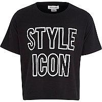 Girls black studded style icon t-shirt