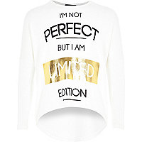 Girls cream limited edition print top