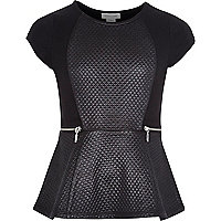 Girls black quilted zip panel peplum top