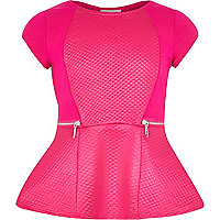 Girls pink quilted zip panel peplum top