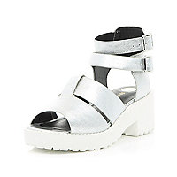 Girls silver clumpy double buckle sandal