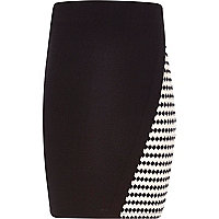 Girls black jacquard wrap skirt