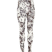 Girls black floral print leggings.