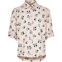 Girls pink pug print shirt
