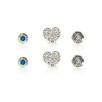 Girls crystal heart earrings 3 pack