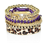 Girls gold tone leopord print bangle pack