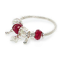 Girls silver tone star charm bracelet