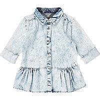 Mini girls denim acid wash peplum shirt