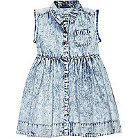 Mini girls light acid wash denim dress