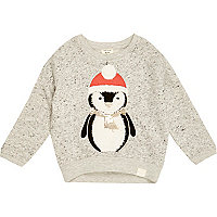 Mini girls grey christmas penguin sweatshirt