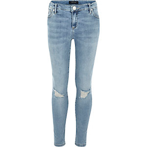 Girls light wash ripped jeans
