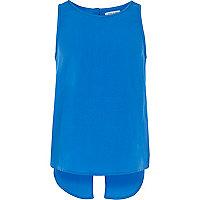 Girls blue split back top