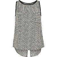 Girls black spot print split back top