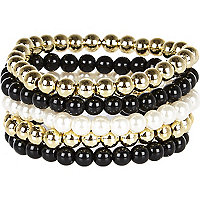 Girls black and gold tone bracelet set