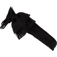 Girls black lace stretch bow headband