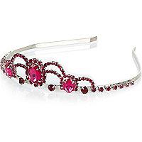 Girls silver tone pink gem tiara