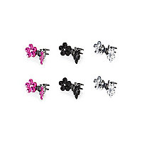 Girls flower diamante clips 6 pack