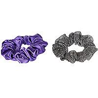 Girls purple shimmer scrunchie 2 pack