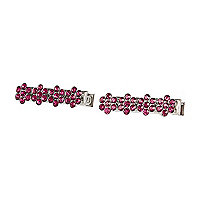 Girls pink diamante clips 2 pack