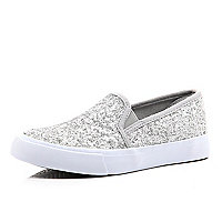 Girls grey glitter slip on trainer