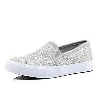 Girls grey glitter slip on trainer