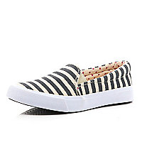 Girls blue stripe slip on trainer