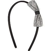 Girls silver diamante bow aliceband