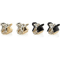 Girls black and gold tone claw grips 4 pack
