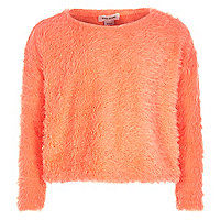 Girls coral crop fluffy jumper