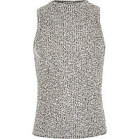 Girls grey ribbed turtle neck cropped top.